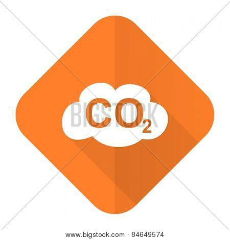 carbon dioxide orange flat icon co2 sign