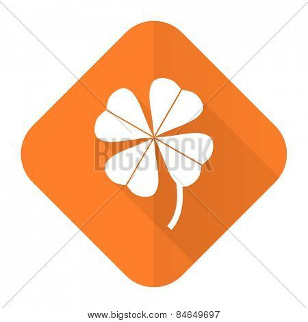 four-leaf clover orange flat icon