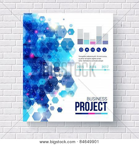 Blue design Business Report with charts
