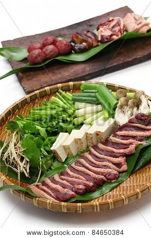 wild mallard duck raw meat on bamboo tray