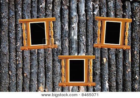 Burned Bark Pine Log Palisade And Three Pine Photoframes