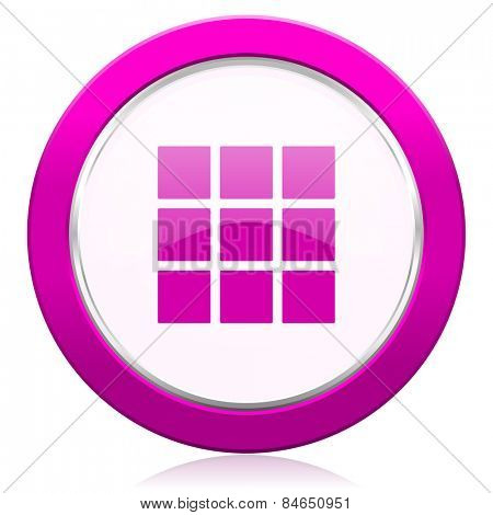 thumbnails grid violet icon gallery sign