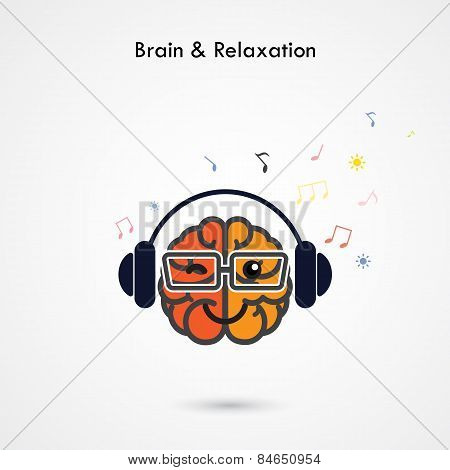 Creative Left And Right Brain Sign With The Headphone On Background ,design For Poster Flyer Cover B