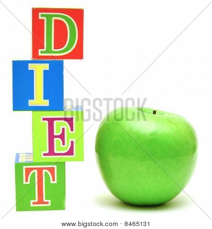 Green Apple And Cubes With Letters - Diet