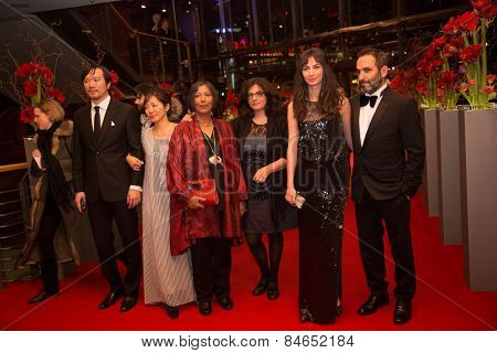 BERLIN, GERMANY - FEBRUARY 14: M. Dutta, W.i A. Had, H. Altindere and  indian film team. Closing Ceremony, 65th Berlinale International Film Festival on February 14, 2015 in Berlin, Germany.