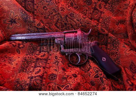 Ancient Italian damask gun, iron, steel,Revolver