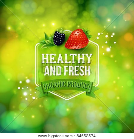 Healthy Fresh Organic Product card vector design
