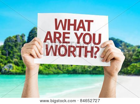 What Are You Worth? card with beach background