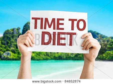 Time to Diet card with beach background