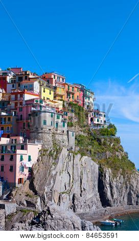 Multi-colored Houses In Manarol's Fishing Small Village. Laguria, Italy