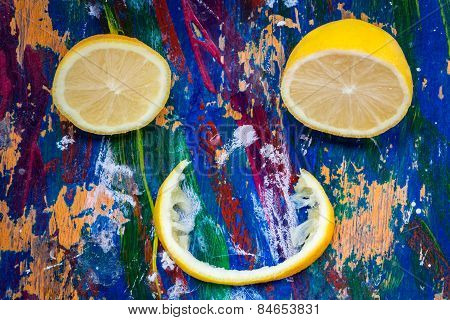 Citrus Smile On Colourful Background