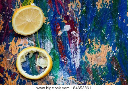 Lemon Parts On A Colourful Background