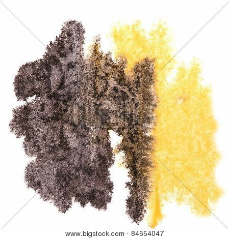 Abstract black,yellow watercolor background for your design insu