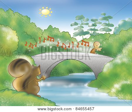 Gingerbread boy running on a bridge