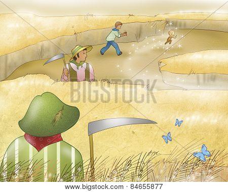 Gingerbread boy running in a field