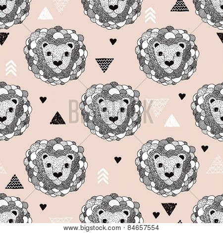 Seamless kids lion safari doodle illustration and geometric details background pattern in vector