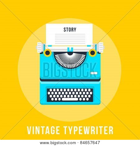 Vector Illustration Of Flat Vintage Typewriter