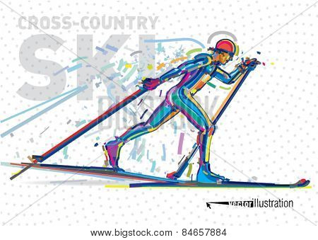 Skiing competition. Vector artwork in the style of paint strokes