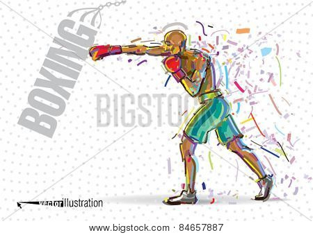 Boxing training. Vector artwork in the style of paint strokes.