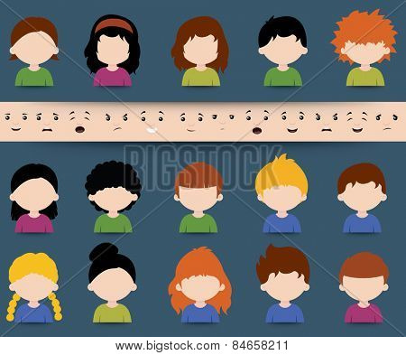 Set of diverse colored vector cartoon character icons with separate face elements depicting different expressions, moods and emotions to be applied in a mix and match design