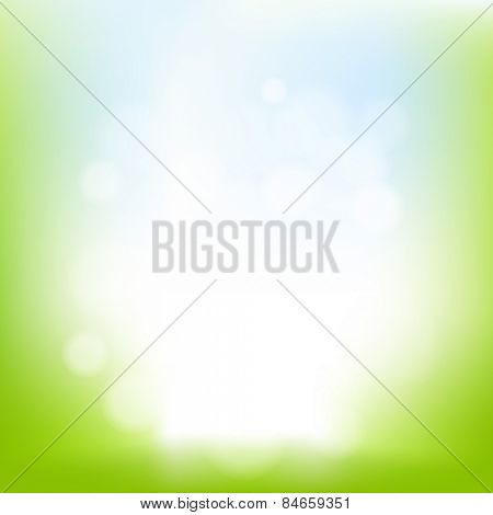 Nature Background With Bokeh With Gradient Mesh, Vector Illustration