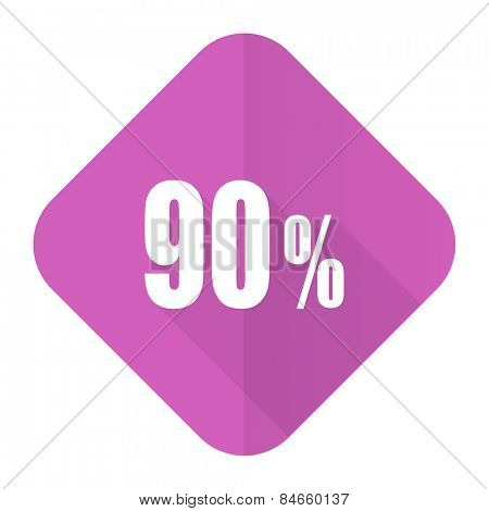 90 percent pink flat icon sale sign