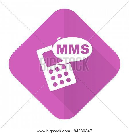 mms pink flat icon phone sign