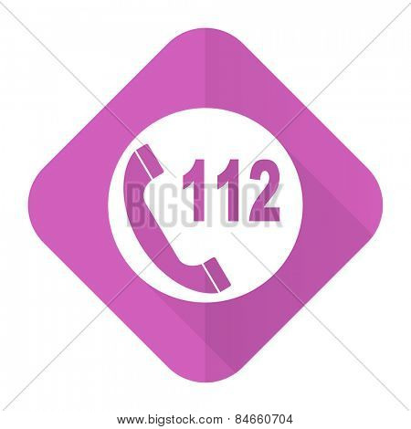 emergency call pink flat icon 112 call sign