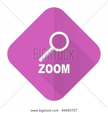 zoom pink flat icon