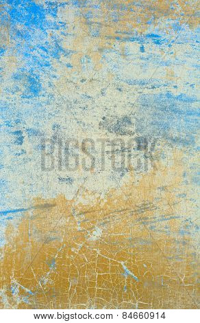 Light Blue Wall With Cracked Paint Effect