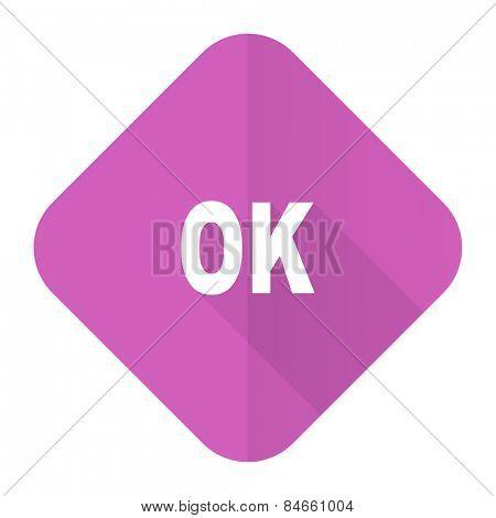 ok pink flat icon