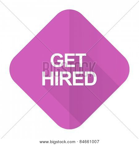 get hired pink flat icon