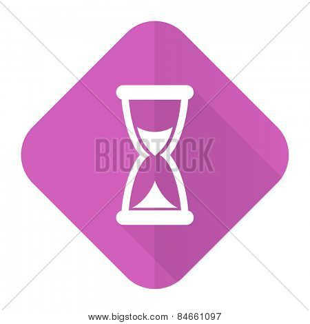 time pink flat icon hourglass sign