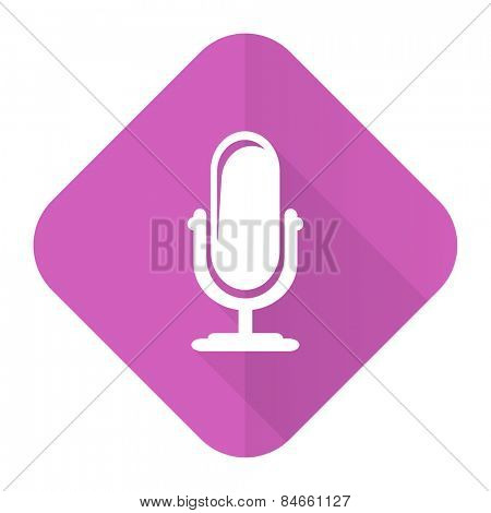 microphone pink flat icon podcast sign