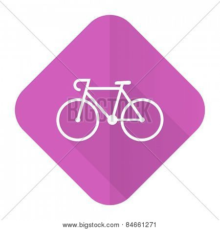bicycle pink flat icon bike sign