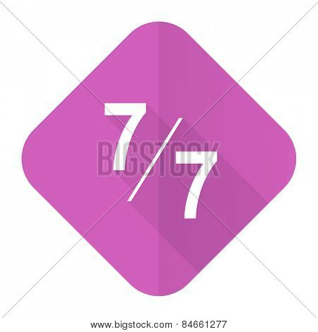 7 per 7 pink flat icon