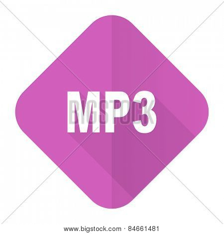 mp3 pink flat icon