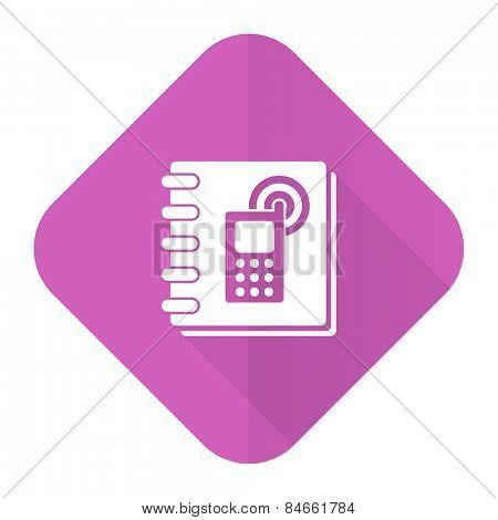 phonebook pink flat icon