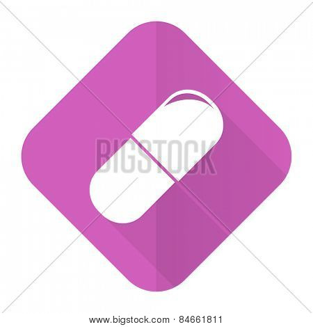 drugs pink flat icon medical sign
