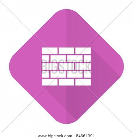 firewall pink flat icon brick wall sign
