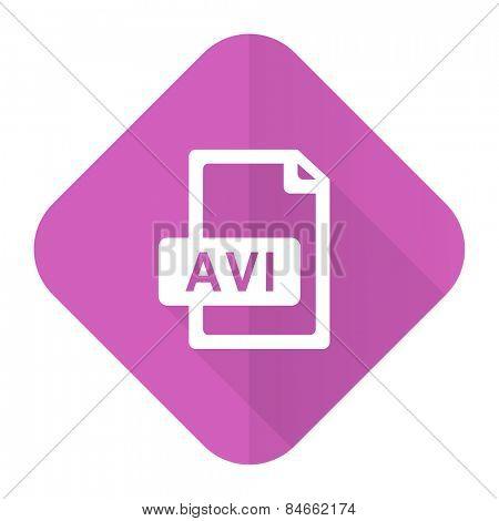 avi file pink flat icon