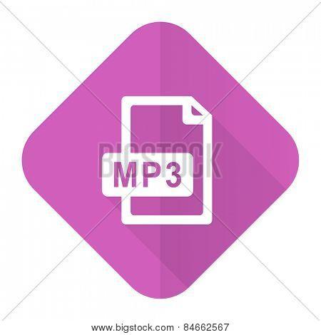 mp3 file pink flat icon