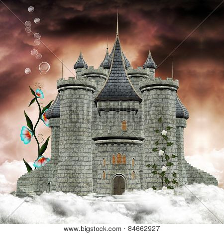 Dreamland castle over the clouds