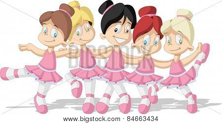 Cute cartoon pink ballerina girls. Young ballet dancer.