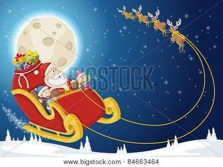 Santa Claus and children on sleigh with reindeer flying on christmas night