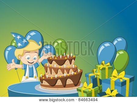 Cartoon blonde boy having fun at birthday party
