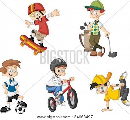 Group of cartoon boys playing various sports