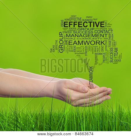Concept conceptual text word cloud on man hand, tagcloud on green blur background and grass, metaphor to business, team, teamwork, win, management, effective, success, communication, company or group