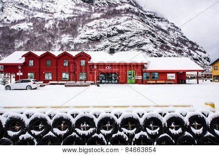 Flam, Norway - December 28, 2014: Station old Flam Railway. The Flam Line (Norwegian: Flamsbana) is a 20.2-kilometer long railway line between Myrdal and Flam in Aurland, Norway.