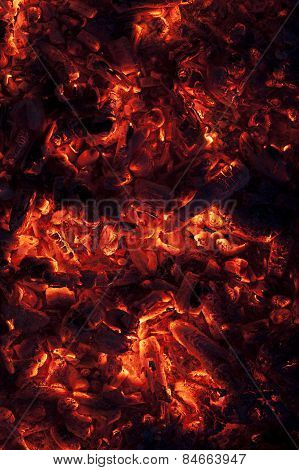 Vertical Shot Of Glowing Embers In Hot Red Color